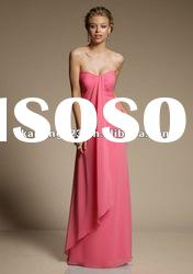 Strapless Sweetheart Sheath Column Long Chiffon Bridesmaid Dress