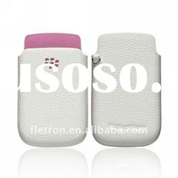 White withe Pink Genuine leather Case Pouch For Blackberry 9800