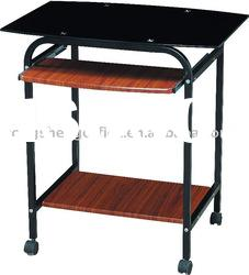 glass steel and wooden computer table