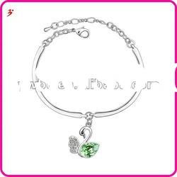 high quality silver alloy crystal swan shape with lobster clasp Bracelet jewelry(B100876)