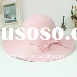 new fashion winter bowler hat 100% pure ladies' wool hat with sunbonnet
