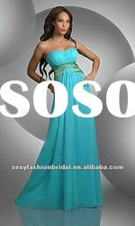 stunning strapless colorful beads diamond accented natural waist on bodice chiffon prom dresses