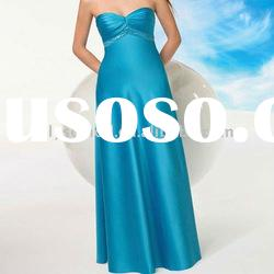 2011 Loveable Sweetheart Strapless Satin Long Blue Bridesmaid Dresses