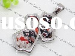 2011 fashion Stainless Steel murano glass Cross Pendants