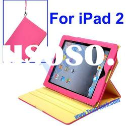 360 Degree Rotating Stand Leather Case with Carrying Strap for iPad 2(Hot Pink)
