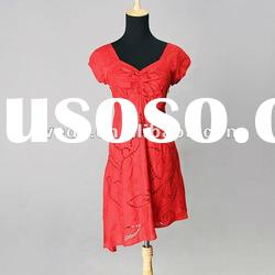 Cotton/silk embroidered ladies Dress 2012 new fashion evening dress red /white