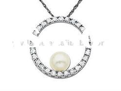 Crystal pearl necklace pendant / Silver circle pendant, sea jewelry