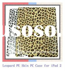 Custom Tablet PC Case for iPad 2 with PU Leopard Skin