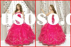 Gorgeous Ball Gown Strapless Applique Organza prom quinceanera dresses 2012