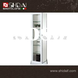 High gloss white paint rotation standing glass mirror E-74