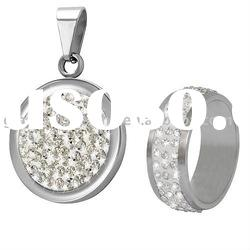 Hot shining CZ glamour ladies' accessory Stainless steel ring and pendant set