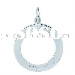 Simple design silver plated round shaped alloy charms with engraved charms
