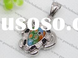 Stainless Steel murano glass Turtle shape Pendants