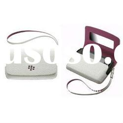 White with Pink Genuine leather Case Pouch For Blackberry Torch 9800