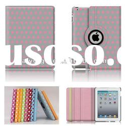 built-in brace web with 360 degree rotating leather cover case for ipad2