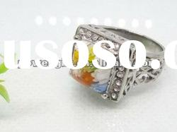 good quality stainless steel Ring with Murano Glass