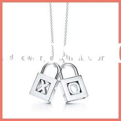 lock silver necklace & silver lock charms necklace