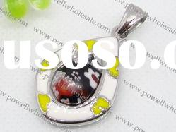 water-drop Stainless Steel murano glass Pendants