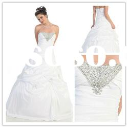 2011 fashionable strapless A-line Floor-Length satin ruffle beaded lace Arabic Evening Dress