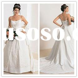 2011 new arrival spaghetti strap A-line Floor-Length applique lace ruffle satin Wedding Gown