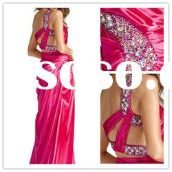 2011 new fashioned one shoulder A-line Floor-Length satin ruffle beaded Popular Evening Dress