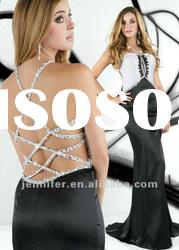 2012 Backless strapless black and white modest prom dress (AJ009)