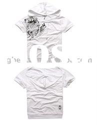 2012 Hot Sell Newest Design High Quality Fashion Hoody White Cotton T-Shirts Printing In Humen