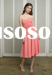 2012 New Style Sweetheart Coral Chiffon Short Bridesmaid Dress