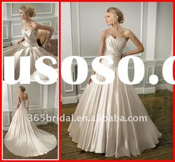 2012 Pleated A Line Sweetheart Appliqued & Beaded Satin Wedding dress