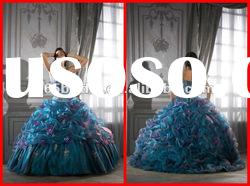 2012 Pleated Spaghetti strap Crystal Applique Organza Ball Gown quinceanera dresses