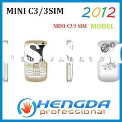 2012 mini c3 triple sim card mobile phone