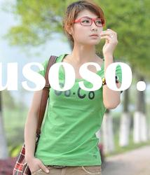 2012 summer fashion cotton plain printing t shirt in humen