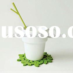 350ml creative ceramic mug with wooden mat and spoon
