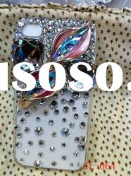 3D Latest design rhinestone cell phone case for 4S fashion jewelry fancy cell phone cases for iphone