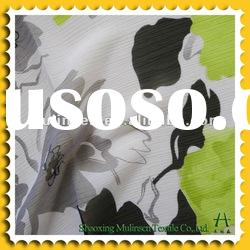 75D Woven polyester printed chiffon fabric with pleating