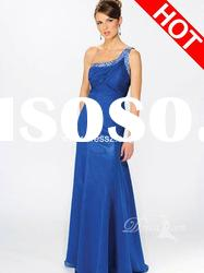 Elegant Beaded One Shoulder Blue Chiffon Holiday Dress For Women Evening Dress