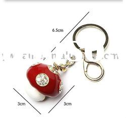 Exquisite beautiful mushroom shape alloy crystal key chain plated gold with enamel 150222