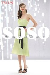 FB1189 Knee Length Strapless Satin Green Bridesmaid Dresses