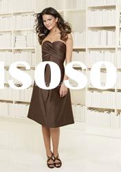 Fitted Pleated Bodice Satin Short Bridesmaid Dress