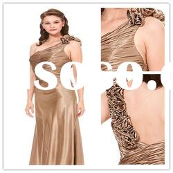 New arrival one shoulder A-line Floor-Length taffeta beaded ruffle Evening Dress 2011