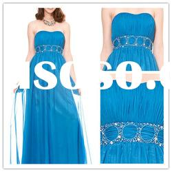 New arrival strapless A-line Floor-Length satin beaded lace ruffle Evening Dress 2011