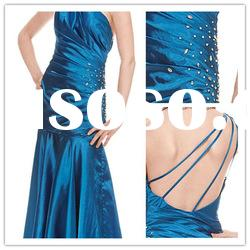 New style one shoulder A-line Floor-Length satin beaded ruffle Formal Evening Dress