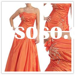 New style strapless A-line Floor-Length satin ruffle applique Formal Evening Dress