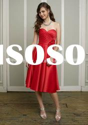 Popular Sweetheart Red Satin With Flower Short Bridesmaid Dress