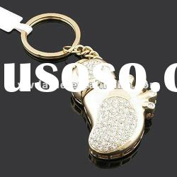 Promotion Foot Shape With Crystal Stones 1G USB Flash Disk Keychain