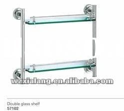 brass base double glass shelf with normal glass or tempering glass
