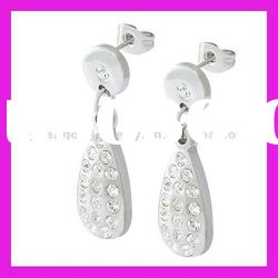 fashion stainless steel cheap drop earrings crystal