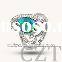 heart shape white gold plated jewelry with Autralian Natural Doublet Opal ring CZTjew0260