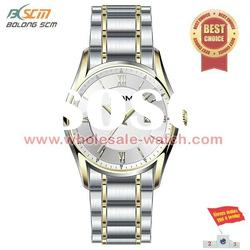 large round case alloy band silver watches for men