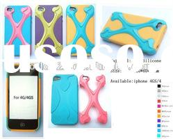 new design Silicone Case and Hard Case Combo cover for iphone 4